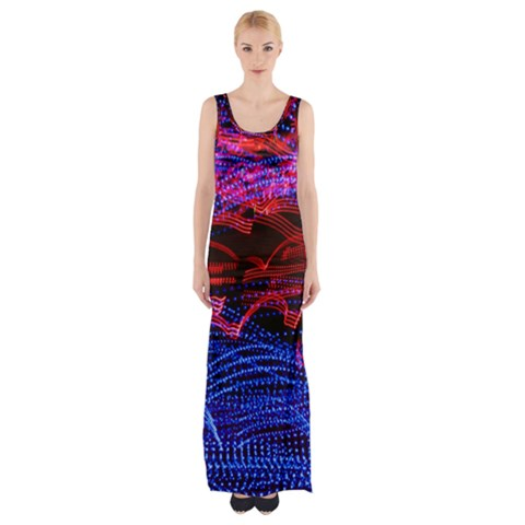 Lights Abstract Curves Long Exposure Maxi Thigh Split Dress