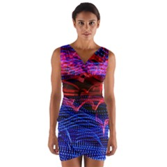 Lights Abstract Curves Long Exposure Wrap Front Bodycon Dress