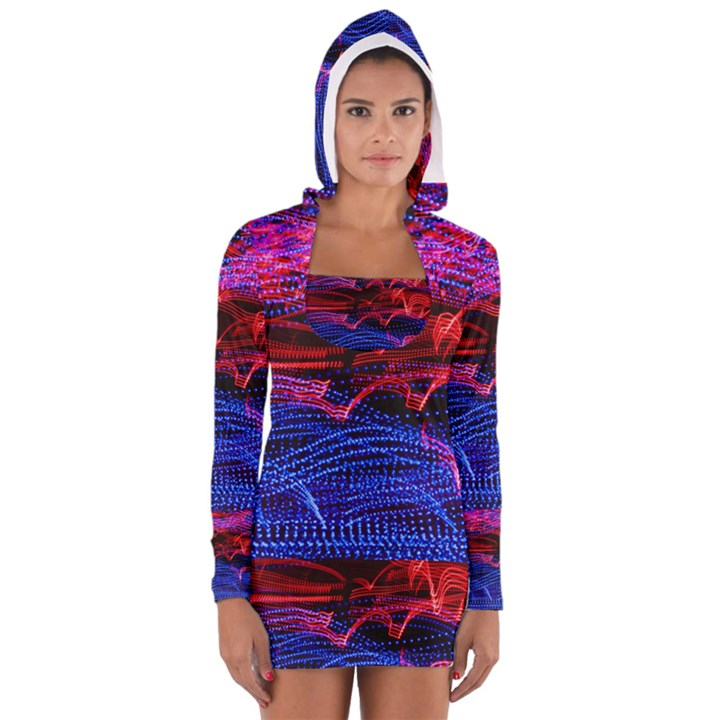 Lights Abstract Curves Long Exposure Women s Long Sleeve Hooded T-shirt