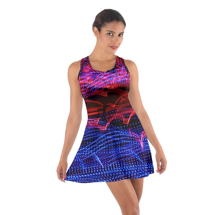 Lights Abstract Curves Long Exposure Cotton Racerback Dress