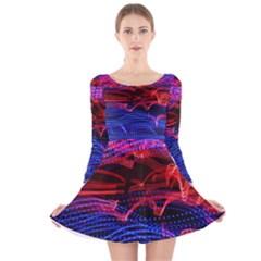 Lights Abstract Curves Long Exposure Long Sleeve Velvet Skater Dress
