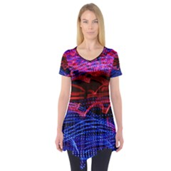 Lights Abstract Curves Long Exposure Short Sleeve Tunic