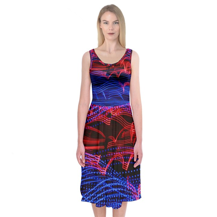 Lights Abstract Curves Long Exposure Midi Sleeveless Dress