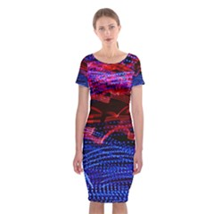 Lights Abstract Curves Long Exposure Classic Short Sleeve Midi Dress