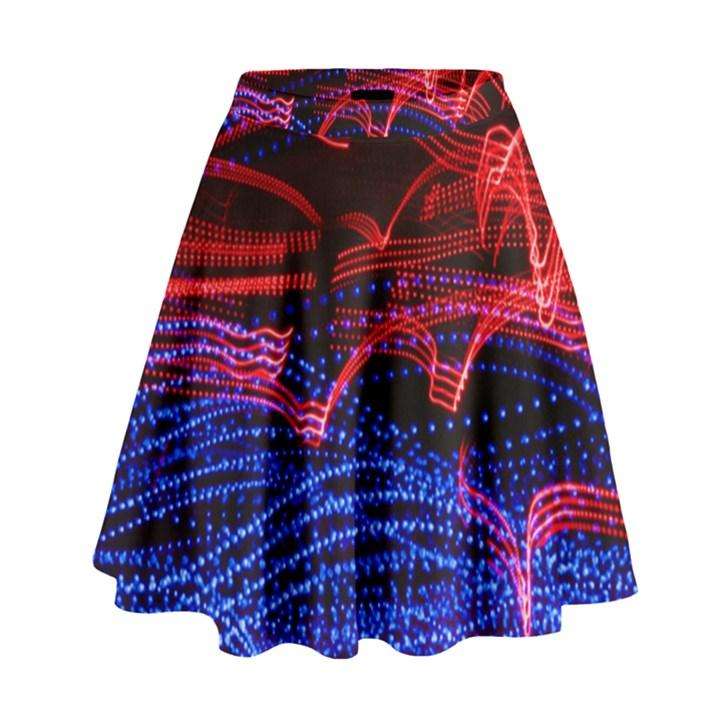 Lights Abstract Curves Long Exposure High Waist Skirt