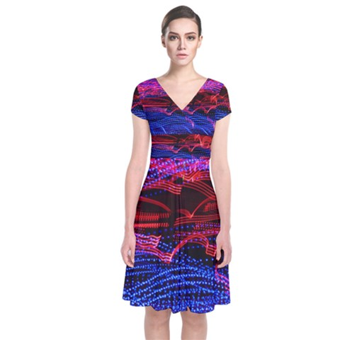 Lights Abstract Curves Long Exposure Short Sleeve Front Wrap Dress