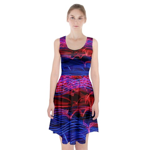 Lights Abstract Curves Long Exposure Racerback Midi Dress
