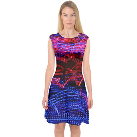 Lights Abstract Curves Long Exposure Capsleeve Midi Dress