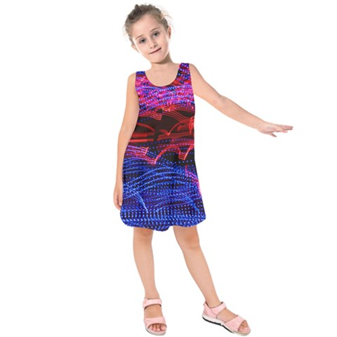 Lights Abstract Curves Long Exposure Kids  Sleeveless Dress