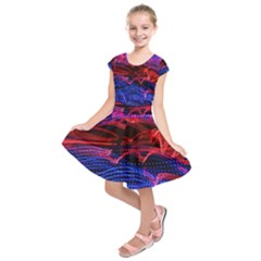 Lights Abstract Curves Long Exposure Kids  Short Sleeve Dress