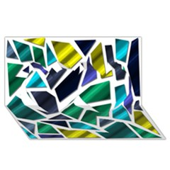 Mosaic Shapes Twin Hearts 3D Greeting Card (8x4)