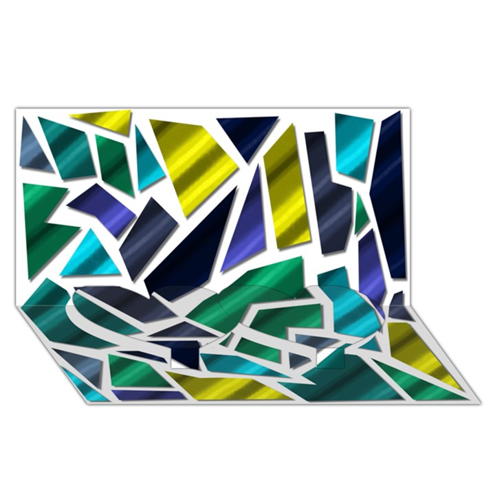 Mosaic Shapes Twin Heart Bottom 3D Greeting Card (8x4)