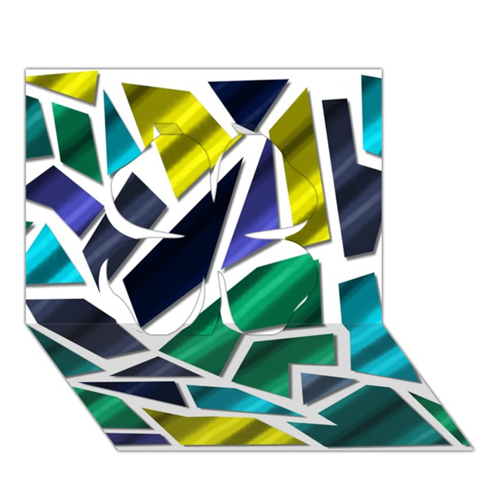 Mosaic Shapes Clover 3D Greeting Card (7x5)