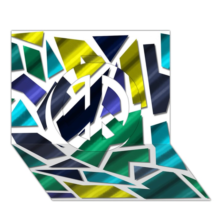 Mosaic Shapes Peace Sign 3D Greeting Card (7x5)