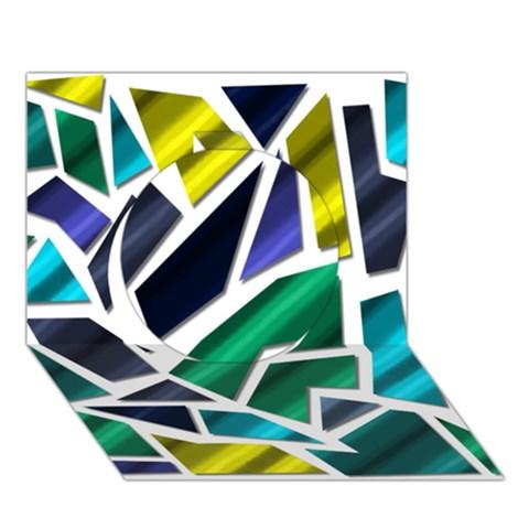 Mosaic Shapes Circle 3D Greeting Card (7x5)