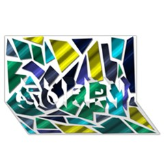 Mosaic Shapes SORRY 3D Greeting Card (8x4)