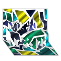 Mosaic Shapes Miss You 3D Greeting Card (7x5)