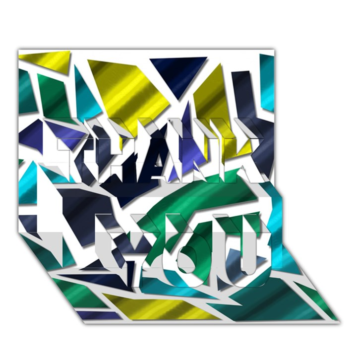 Mosaic Shapes THANK YOU 3D Greeting Card (7x5)