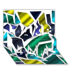 Mosaic Shapes TAKE CARE 3D Greeting Card (7x5)