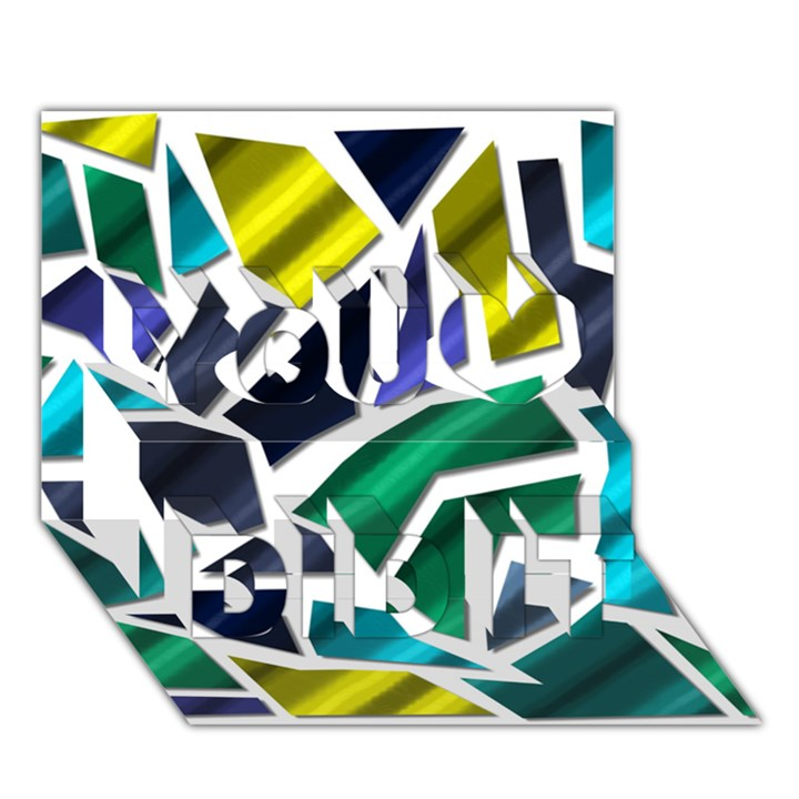 Mosaic Shapes You Did It 3D Greeting Card (7x5)