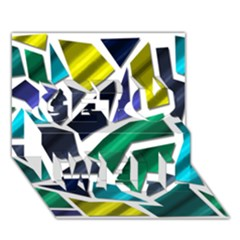 Mosaic Shapes Get Well 3D Greeting Card (7x5)