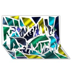 Mosaic Shapes Congrats Graduate 3D Greeting Card (8x4)