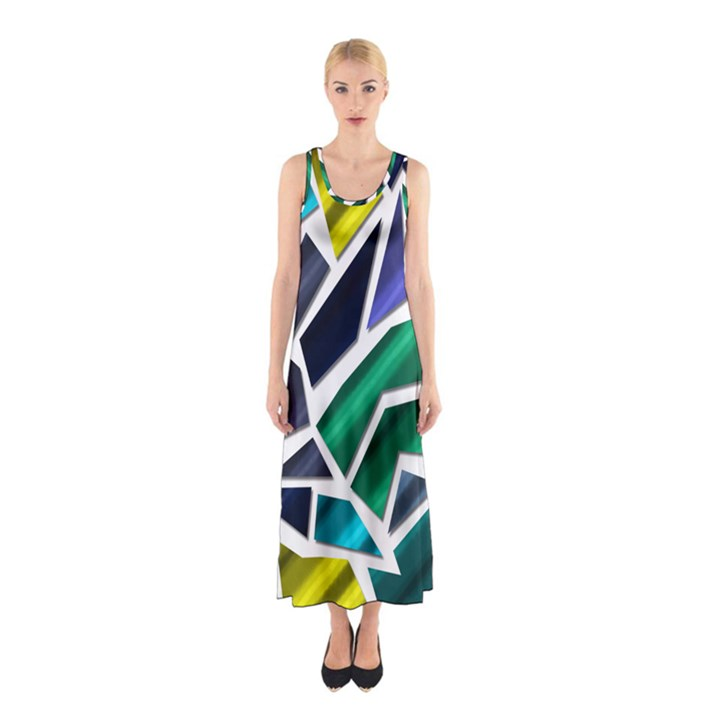 Mosaic Shapes Sleeveless Maxi Dress