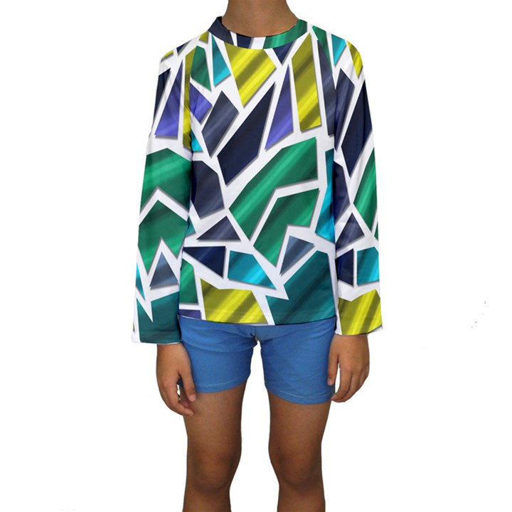 Mosaic Shapes Kids  Long Sleeve Swimwear