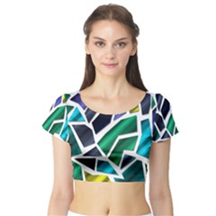 Mosaic Shapes Short Sleeve Crop Top (Tight Fit)