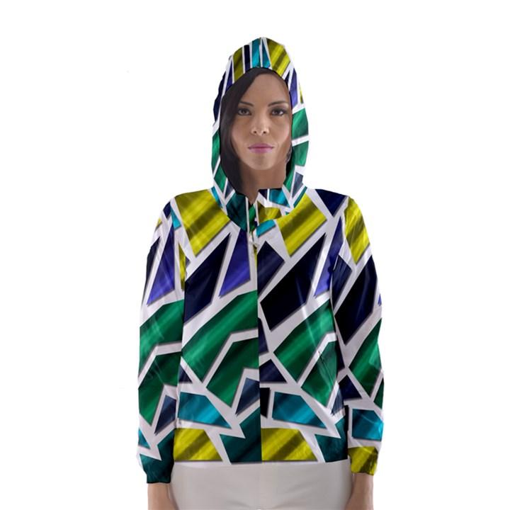Mosaic Shapes Hooded Wind Breaker (Women)