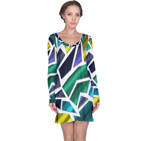 Mosaic Shapes Long Sleeve Nightdress