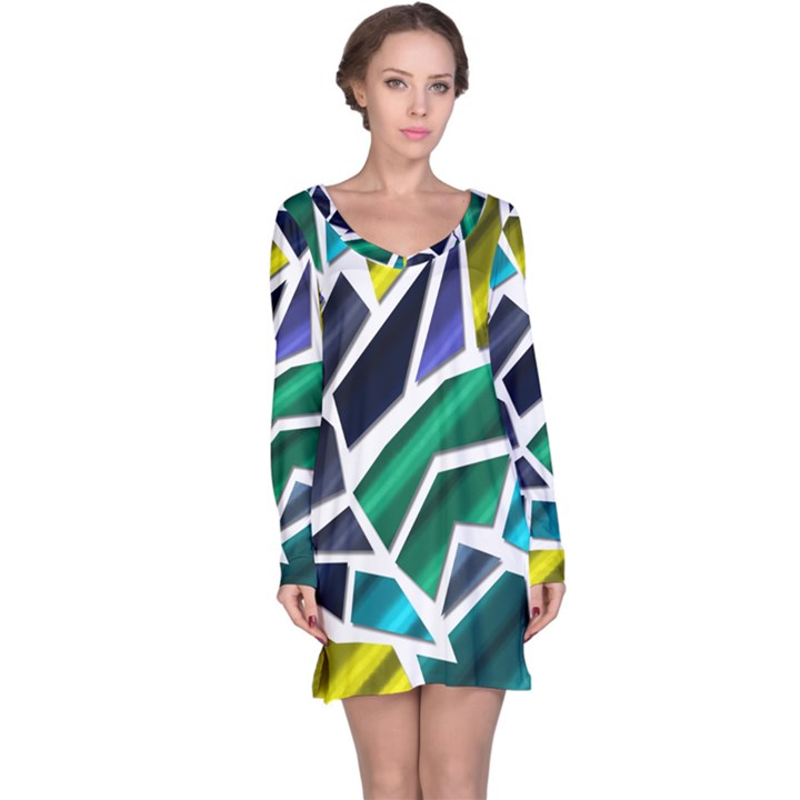Mosaic Shapes Long Sleeve Nightdress