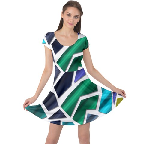 Mosaic Shapes Cap Sleeve Dresses