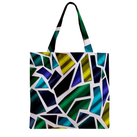 Mosaic Shapes Zipper Grocery Tote Bag