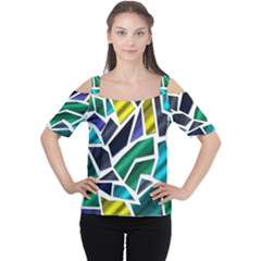 Mosaic Shapes Women s Cutout Shoulder Tee