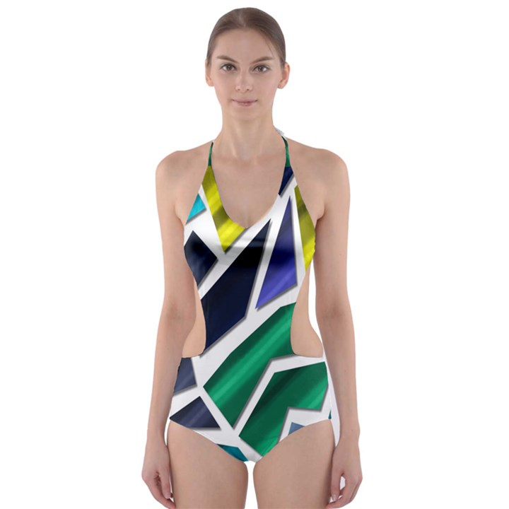 Mosaic Shapes Cut-Out One Piece Swimsuit