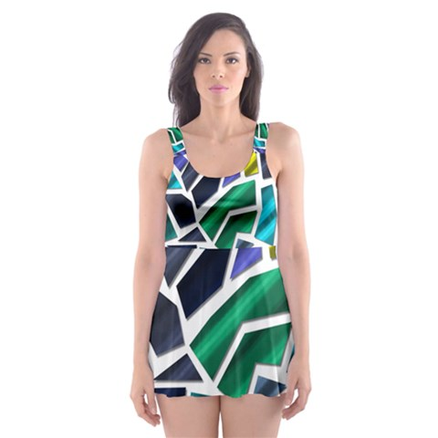 Mosaic Shapes Skater Dress Swimsuit