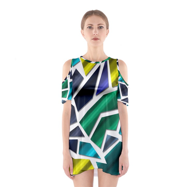 Mosaic Shapes Cutout Shoulder Dress
