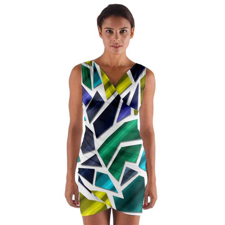 Mosaic Shapes Wrap Front Bodycon Dress