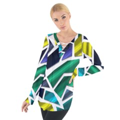 Mosaic Shapes Women s Tie Up Tee