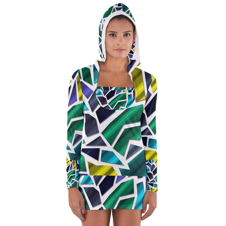 Mosaic Shapes Women s Long Sleeve Hooded T-shirt