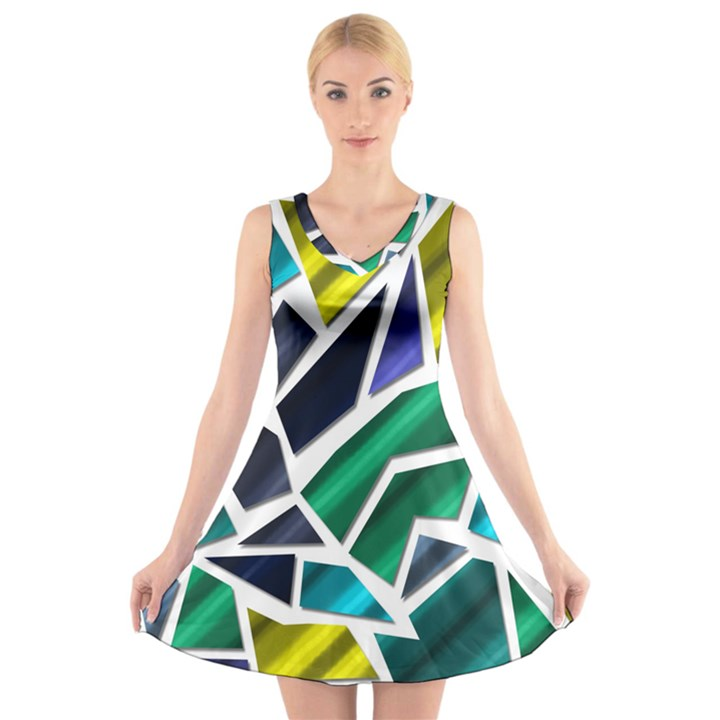 Mosaic Shapes V-Neck Sleeveless Skater Dress