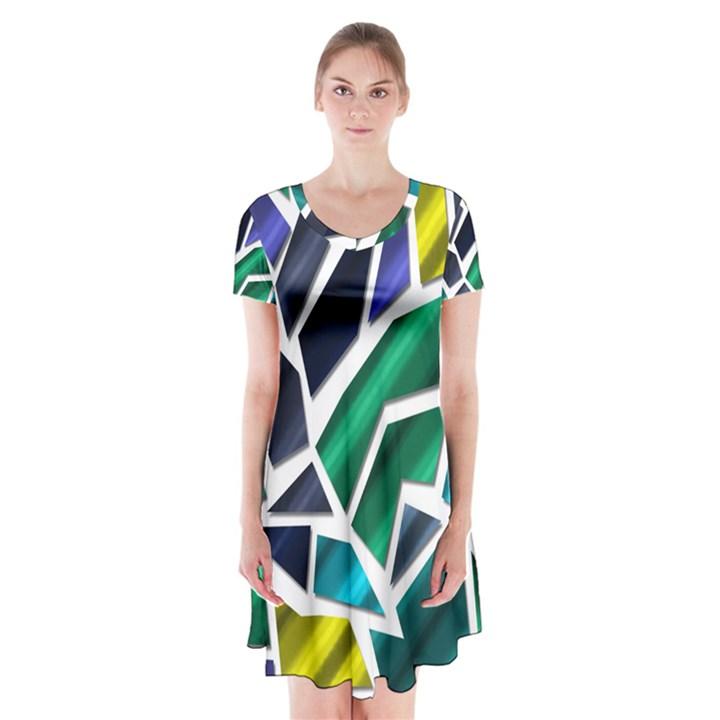 Mosaic Shapes Short Sleeve V-neck Flare Dress