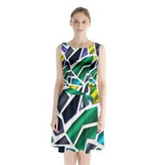 Mosaic Shapes Sleeveless Chiffon Waist Tie Dress