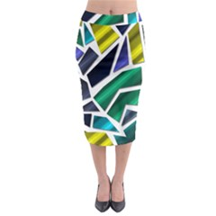 Mosaic Shapes Midi Pencil Skirt