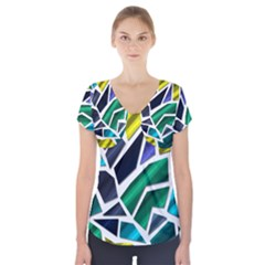 Mosaic Shapes Short Sleeve Front Detail Top