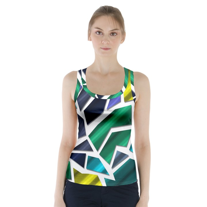 Mosaic Shapes Racer Back Sports Top