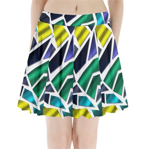 Mosaic Shapes Pleated Mini Skirt