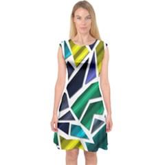 Mosaic Shapes Capsleeve Midi Dress