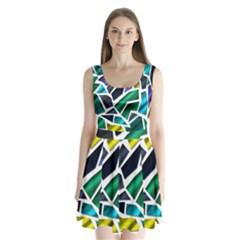 Mosaic Shapes Split Back Mini Dress